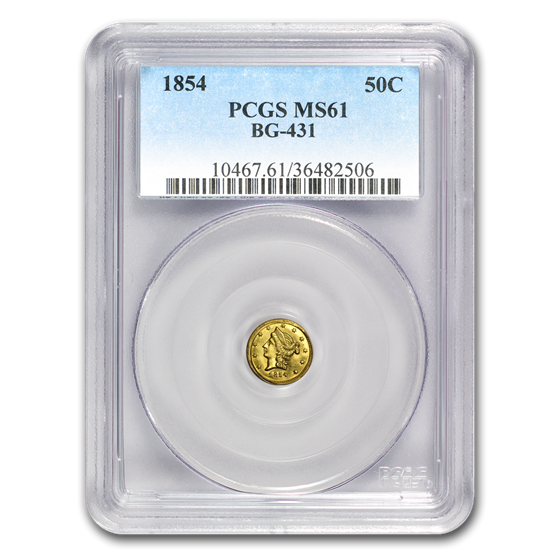 1854 Liberty Round 50 Cent Gold MS-61 PCGS (BG-431)