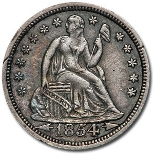 1854 Liberty Seated Dime AU Details (Rim Dings)