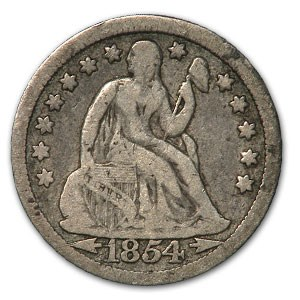 1854 Liberty Seated Dime w/Arrows VG