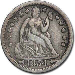 1854 Liberty Seated Dime w/Arrows XF