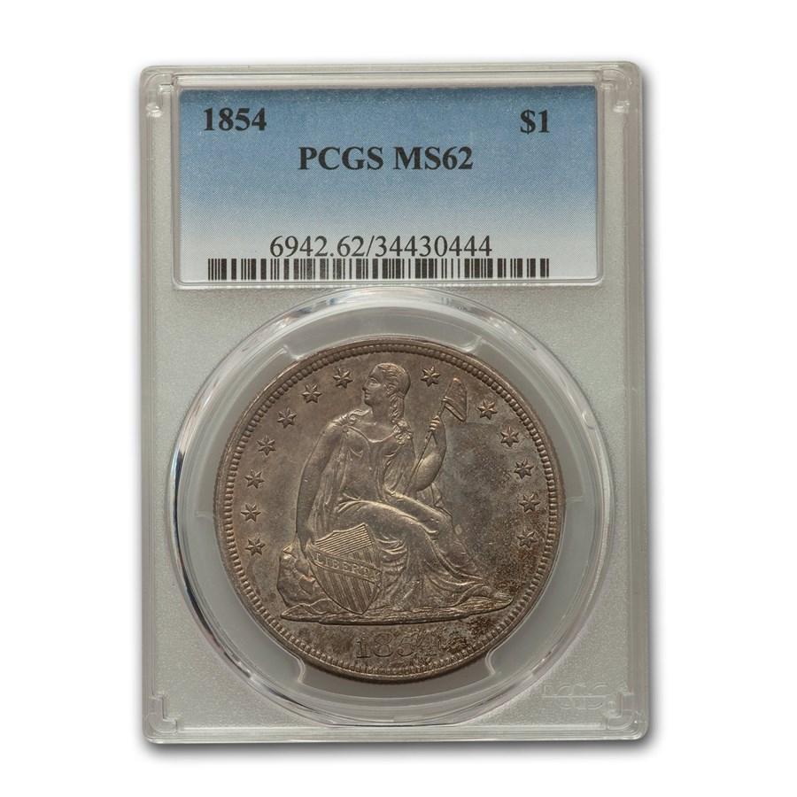 1854 Liberty Seated Dollar MS-62 PCGS