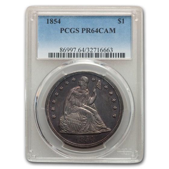 1854 Liberty Seated Dollar PR-64 Cameo PCGS