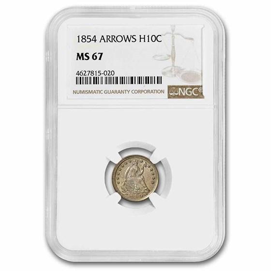 1854 Liberty Seated Half Dime MS-67 NGC (Arrows)