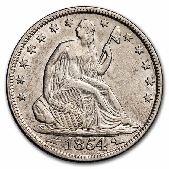 1854 Liberty Seated Half Dollar AU