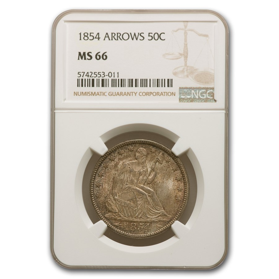 1854 Liberty Seated Half Dollar MS-66 NGC (Arrows)