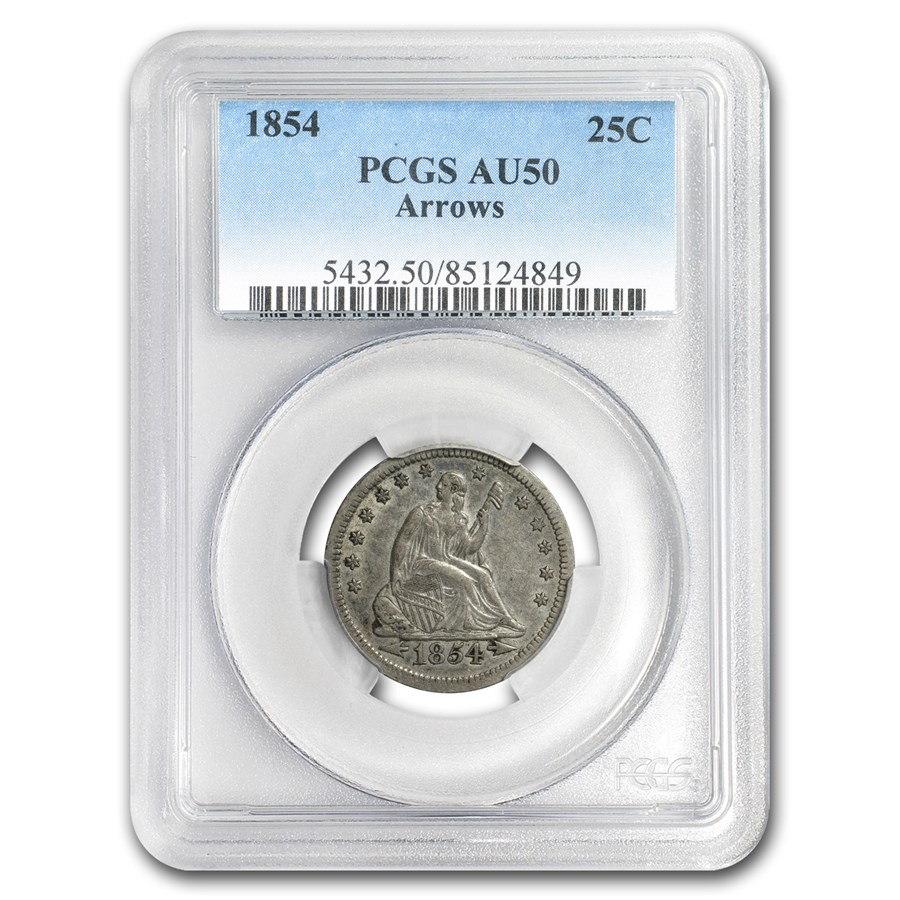 1854 Liberty Seated Quarter AU-50 PCGS (Arrows)