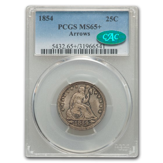 1854 Liberty Seated Quarter MS-65+ PCGS CAC (Arrows)