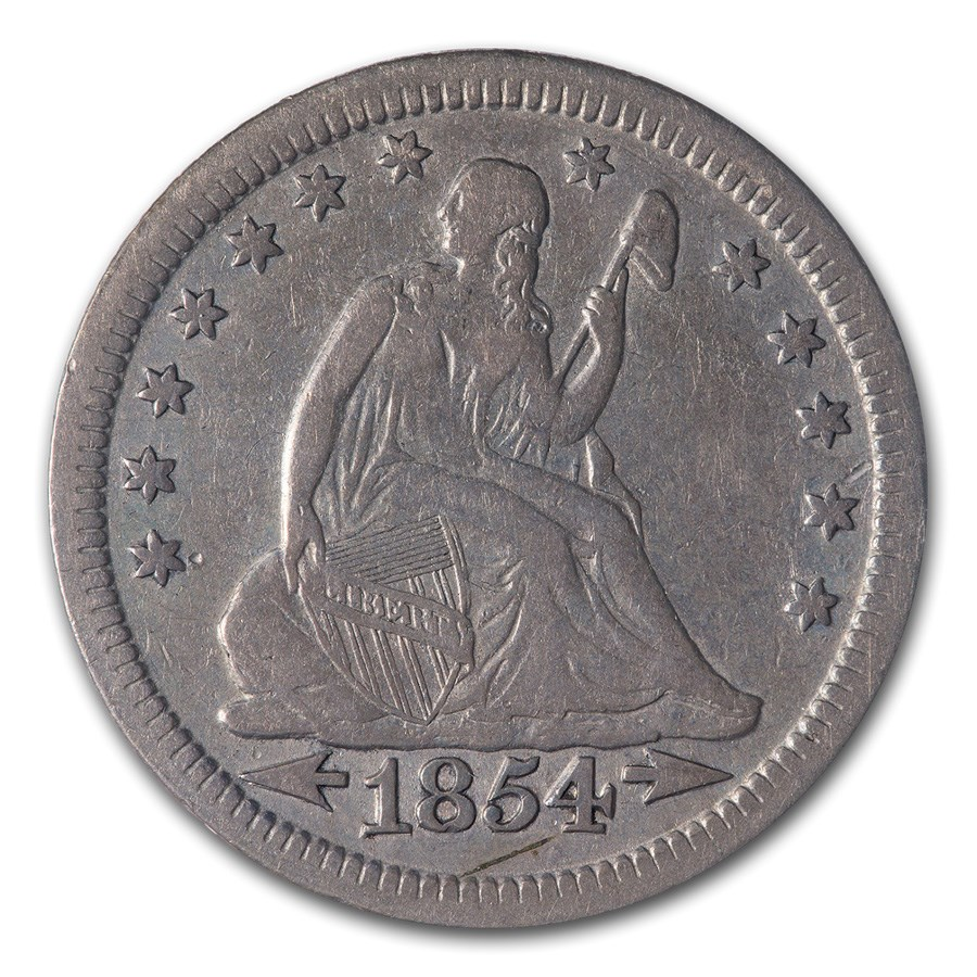 1854 Liberty Seated Quarter VF