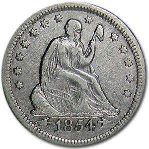 1854 Liberty Seated Quarter XF Details (Cleaned)