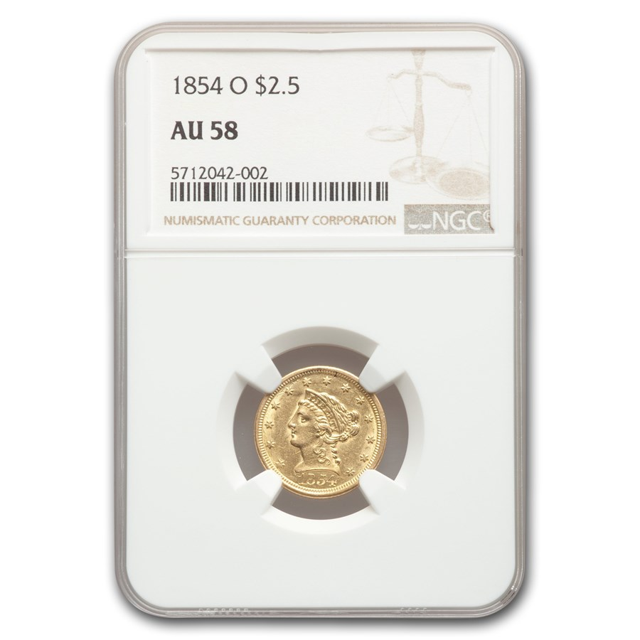 1854-O $2.50 Liberty Gold Quarter Eagle AU-58 NGC