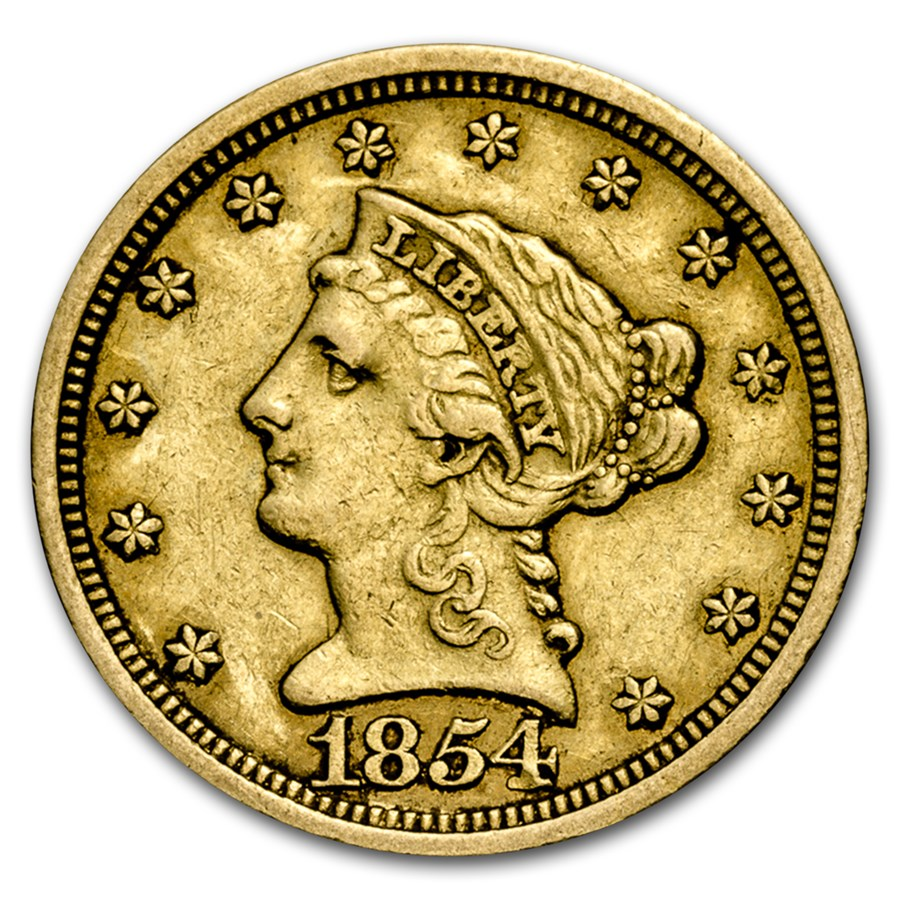 1854-O $2.50 Liberty Gold Quarter Eagle XF