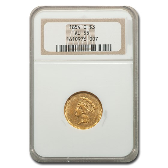 1854-O $3 Gold Princess AU-55 NGC