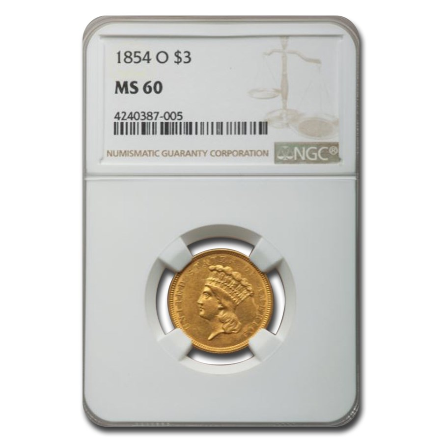 1854-O $3 Gold Princess MS-60 NGC