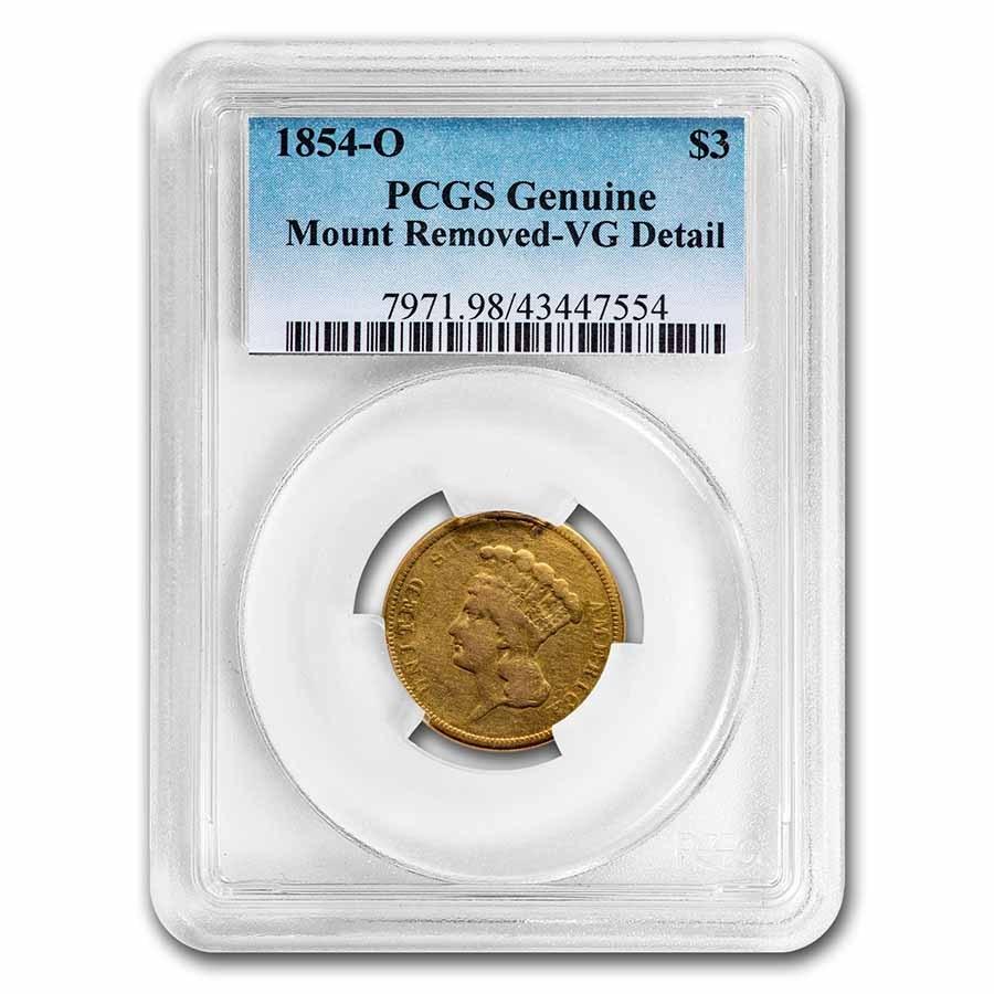 1854-O $3 Gold Princess VG Details PCGS (Mount Removed)