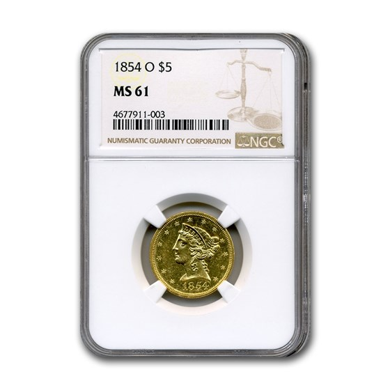 1854-O $5 Liberty Gold Half Eagle MS-61 NGC