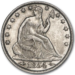 1854-O Liberty Seated Half Dollar AU Details (Cleaned)