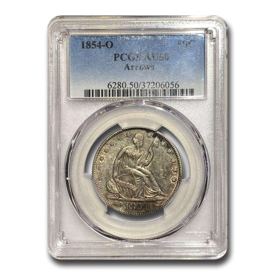 1854-O Liberty Seated Half Dollar (w/ Arrows) AU-50 PCGS