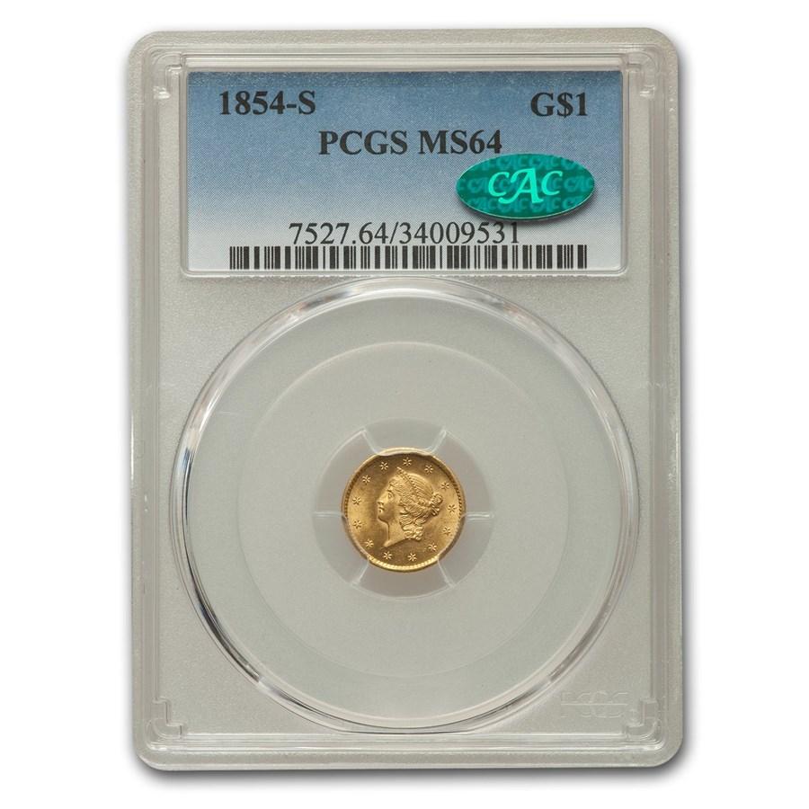 1854-S $1 Liberty Head Gold MS-64 PCGS CAC