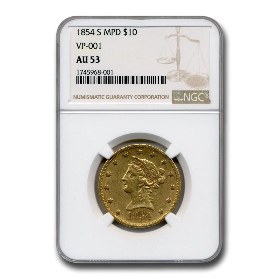 1854-S $10 Liberty Gold Eagle AU-53 NGC (MPD, VP-001)