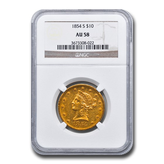 1854-S $10 Liberty Gold Eagle AU-58 NGC