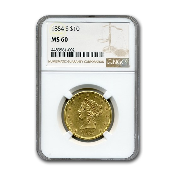 1854-S $10 Liberty Gold Eagle MS-60 NGC