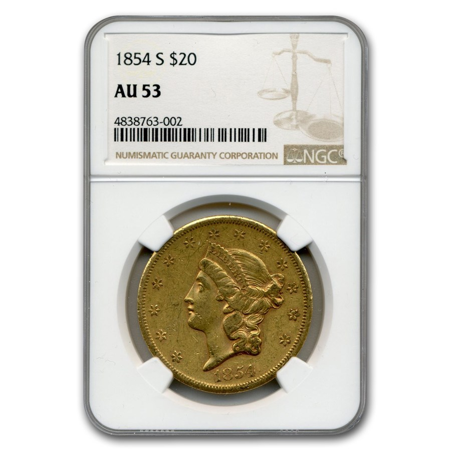 1854-S $20 Liberty Gold Double Eagle AU-53 NGC