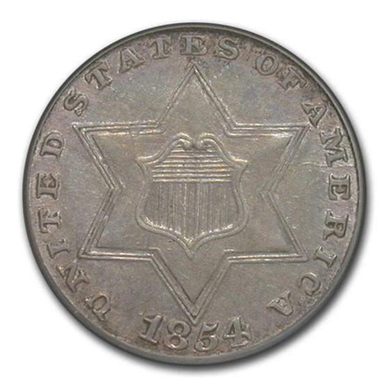 1854 Three Cent Silver AU-55 PCGS