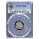 1854 Three Cent Silver MS-65 PCGS