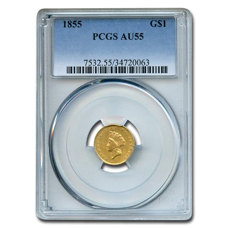 1855 $1 Indian Head Gold Dollar AU-55 PCGS