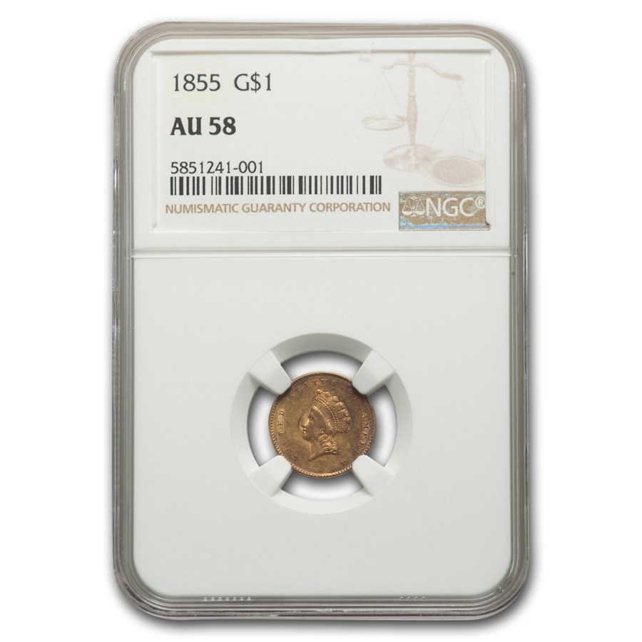 1855 $1 Indian Head Gold Dollar AU-58 NGC