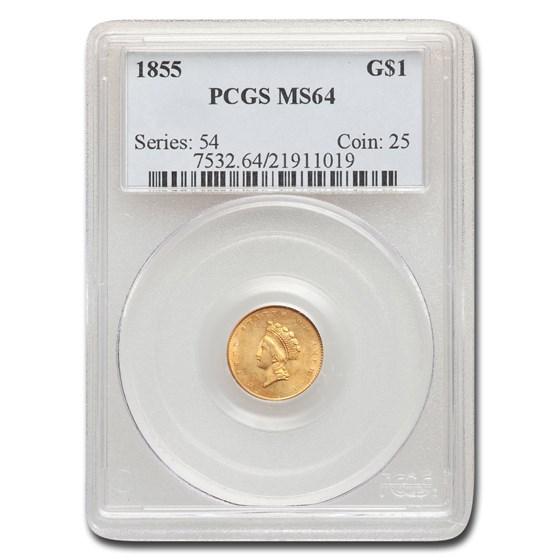 1855 $1 Indian Head Gold Dollar MS-64 PCGS