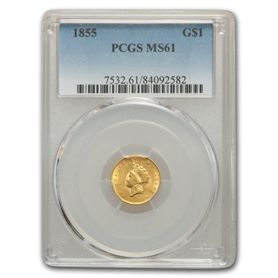 1855 $1 Indian Head Gold MS-61 PCGS
