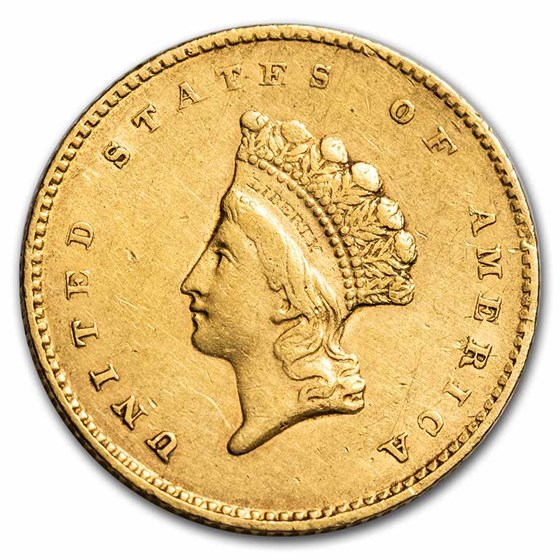 1855 $1 Indian Head Gold Type 2 XF
