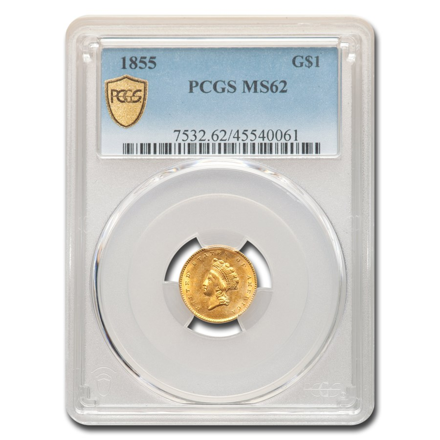1855 $1 Indian Head Gold Type-II MS-62 PCGS