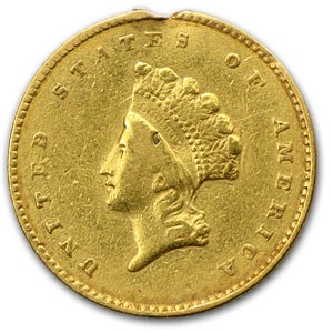 1855 $1 Indian Head Gold XF Details (Ex Jewelry)