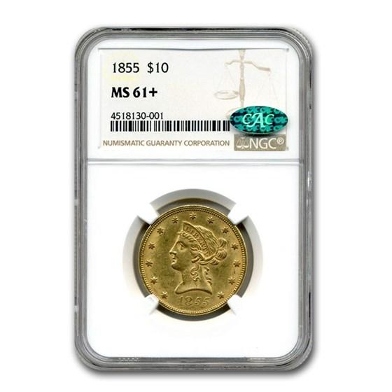 1855 $10 Liberty Gold Eagle MS-61+ NGC CAC