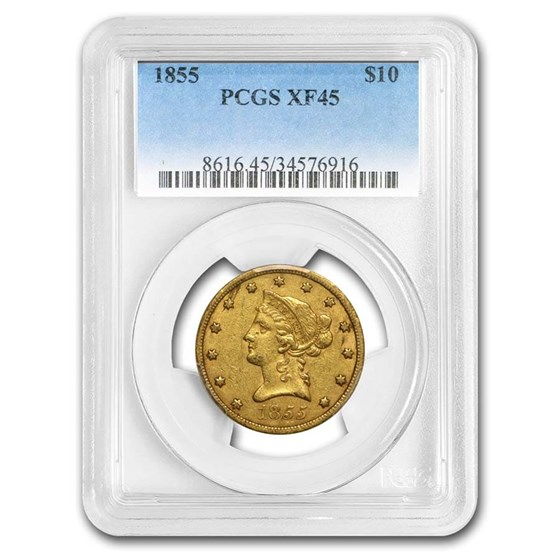 1855 $10 Liberty Gold Eagle XF