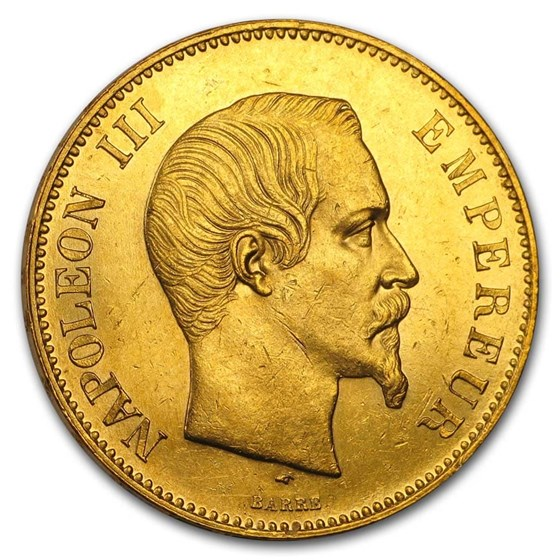 1855-1859 France Gold 100 Francs Napoleon III BU