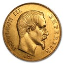 1855-1859 France Gold 50 Francs Napoleon III (AU)