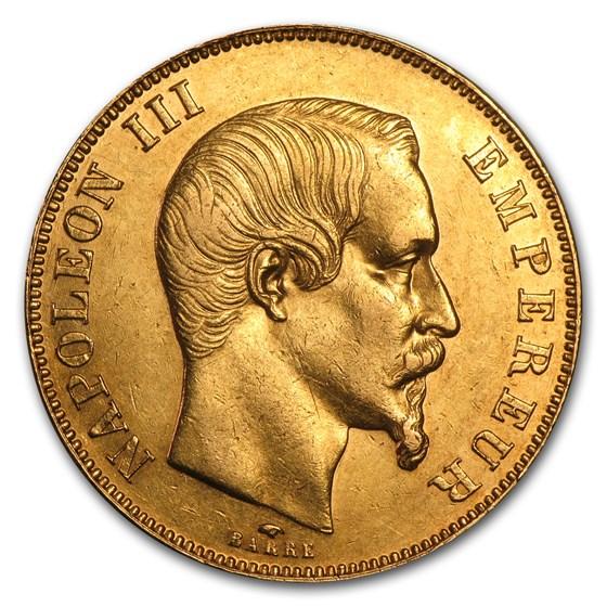 1855-1859 France Gold 50 Francs Napoleon III (AU)
