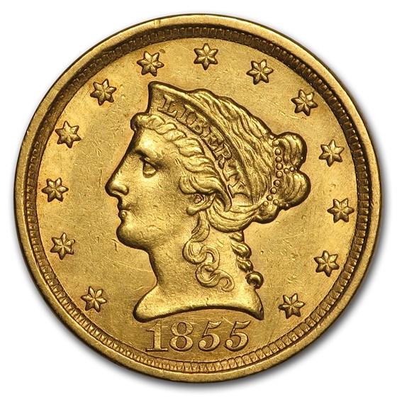 1855 $2.50 Liberty Gold Quarter Eagle AU