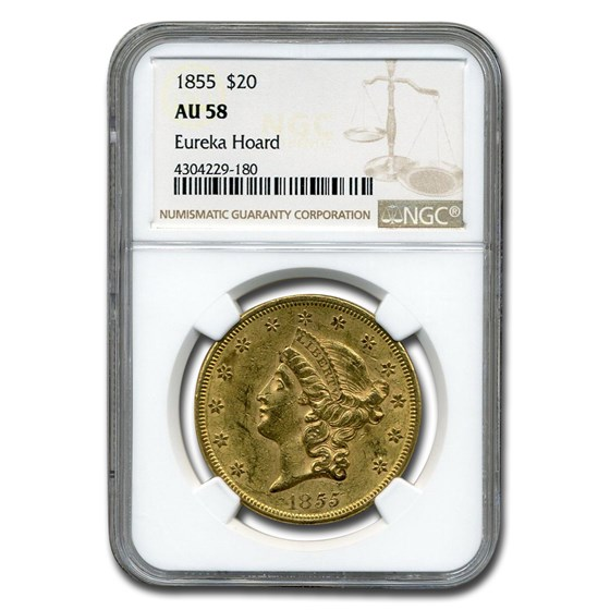 1855 $20 Liberty Gold Double Eagle AU-58 NGC
