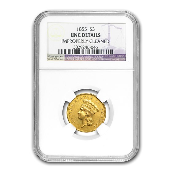 1855 $3 Gold Princess Unc Details NGC (Cleaned)