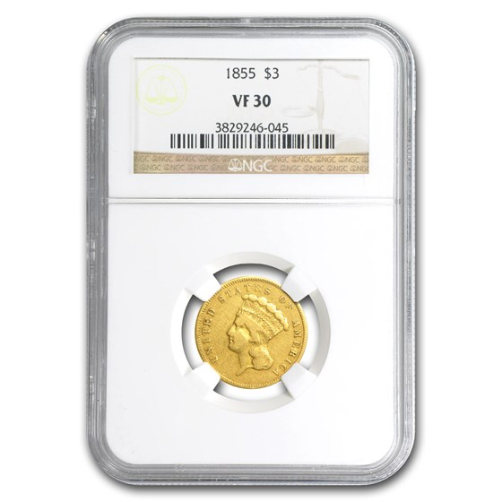1855 $3 Gold Princess VF-30 NGC