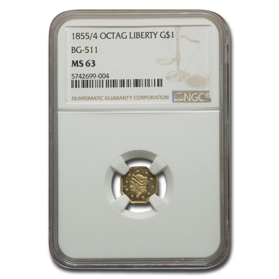 1855/4 Liberty Octagonal One Dollar Gold MS-63 NGC (BG-511)