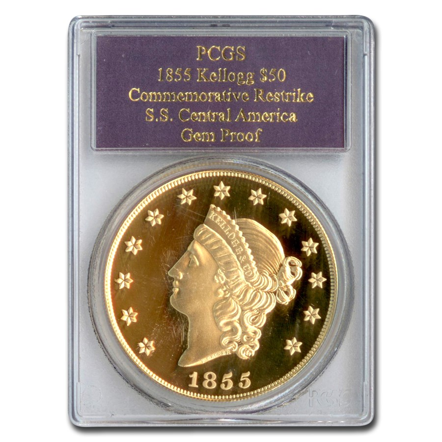 1855 $50 Gold Kellogg Restrike Gem Proof PCGS (SS Cen. America)