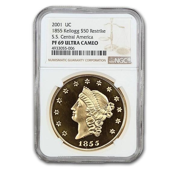 1855 $50 Gold Kellogg Restrike PF-69 UCAM NGC (Restrike)