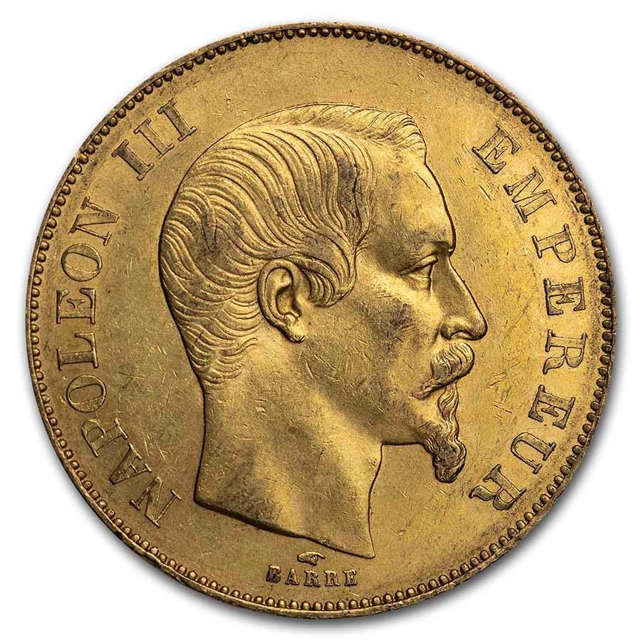 1855-A France Gold 50 Francs Napoleon III AU