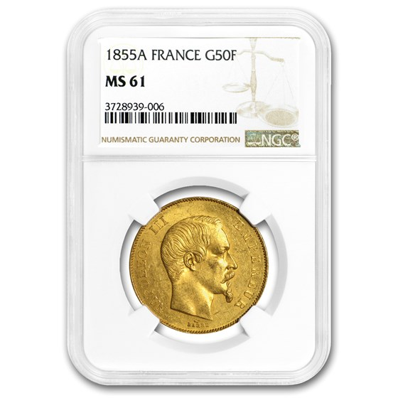 1855-A France Gold 50 Francs Napoleon III MS-61 NGC