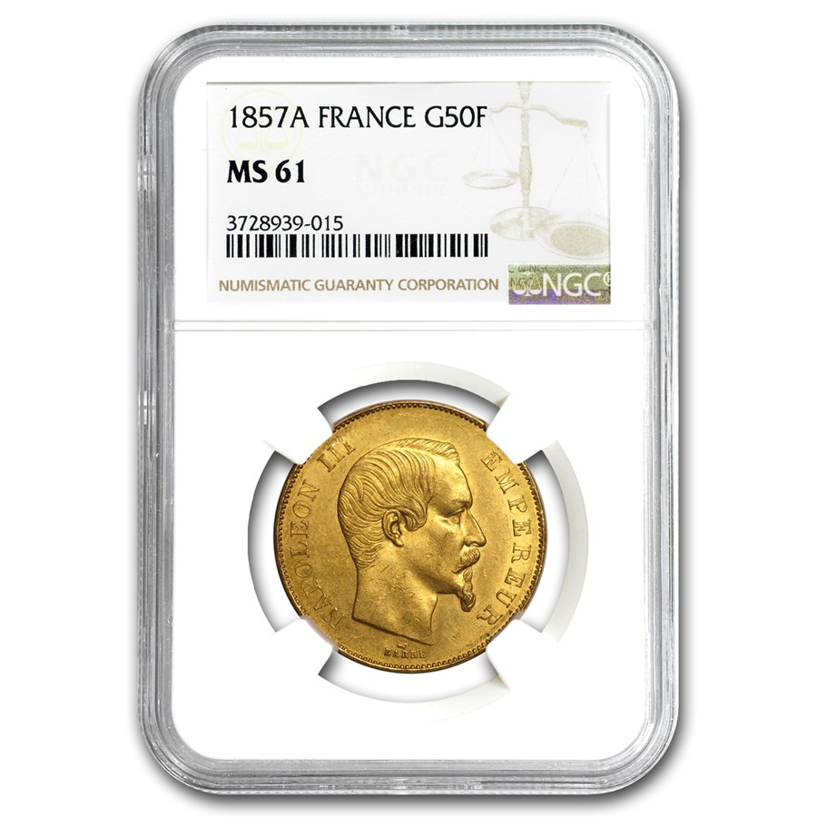 1855-A France Gold 50 Francs Napoleon III MS-62 NGC